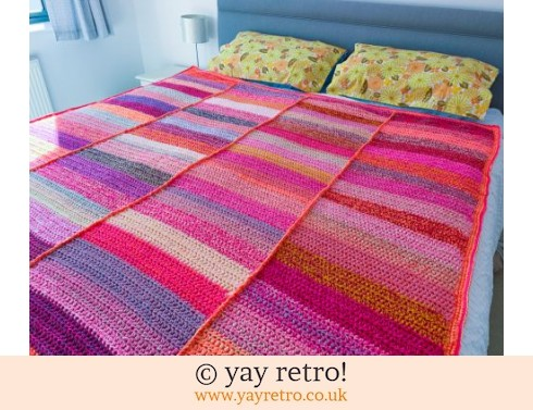 Large Hot Pink Stripe Crochet Blanket (£115.00)