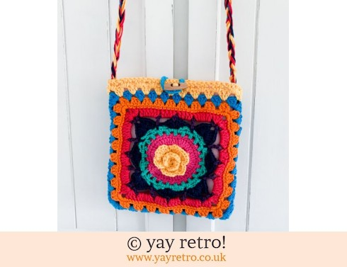 152: Rainbow Flower Power Crocheted Tote Bag (£23.00)