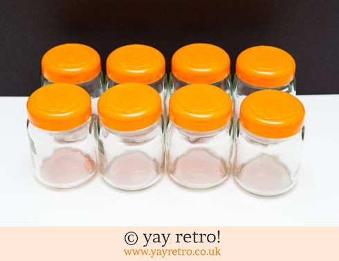 0: 8 Glass Storage Jars - Orange! (£12.00)