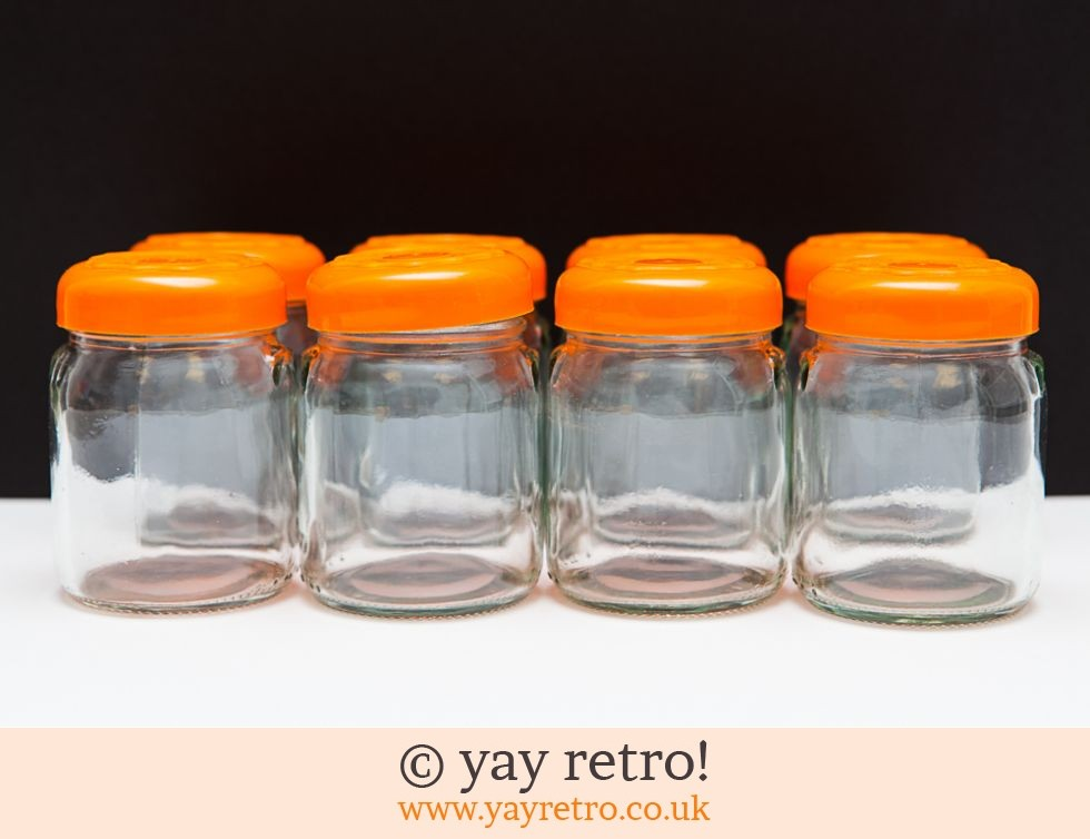 8 Glass Storage Jars - Orange! (£12.00)