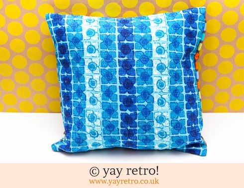 0: Turquoise Vintage Barkcloth Cushion (£12.95)