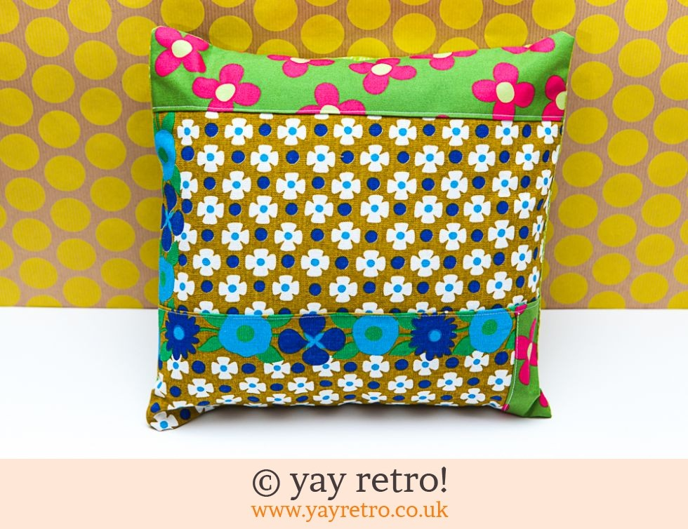 Vintage Fabric Patchwork Cushion - complete (£12.99)