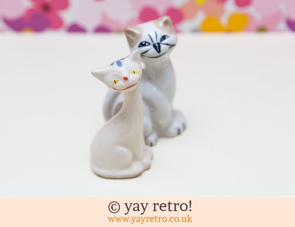 Vintage Mid Century Pottery Cats x 2 (£8.00)