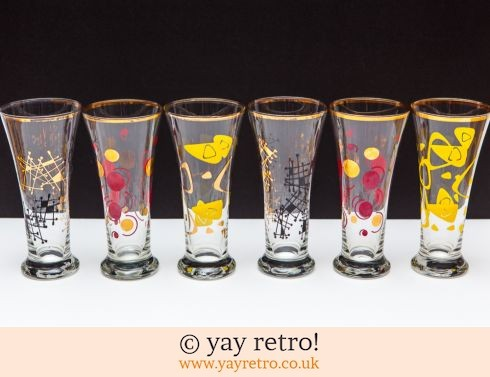 0: 1/2 Pint 1950s Party Glasses x 6 (£22.00)