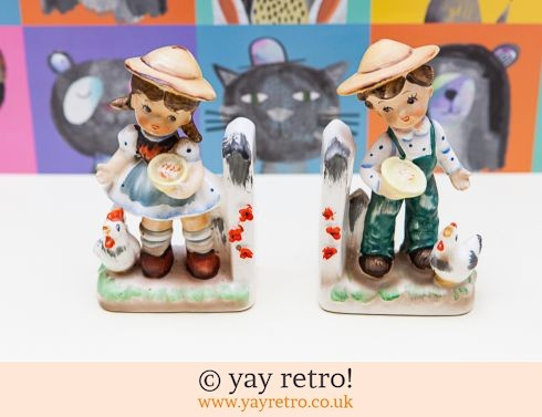 Boy & Girl with Chickens Vintage 50s Bookends (£9.00)