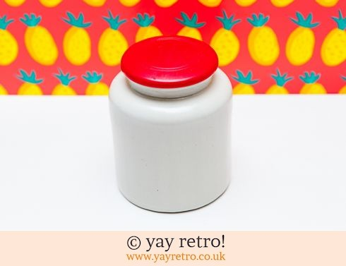 0: Vintage Earthenware Storage Jar with Red lid (£4.00)
