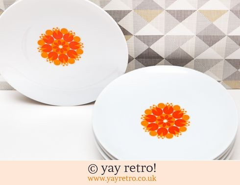 0: Orange Pinwheel Tea Plates x 6 (£12.00)