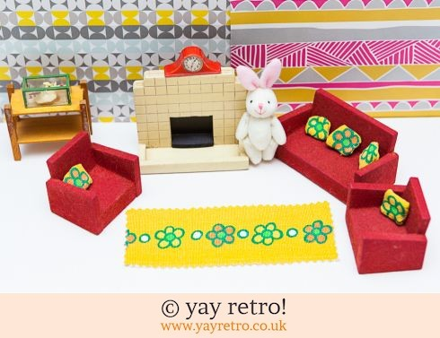 0: Vintage Dolls House Lounge Set + Fireplace (£14.75)