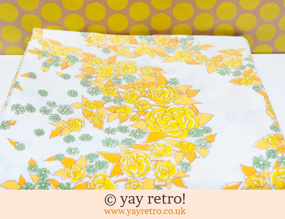 Vintage Double Yellow Flowery Sheet (£7.50)