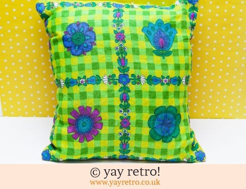 0: Bright Flower Power Vintage Fabric Cushion (£14.50)