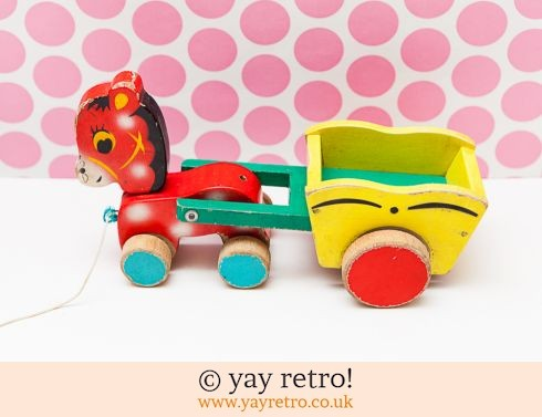 0: Kitsch Wooden Pull-along Horse & Cart 1950/60s (£17.00)