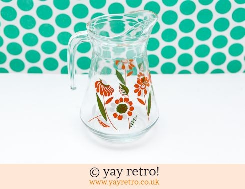 0: Orange Flower Power 1960s Glass Juice Jug - Rare (£13.50)