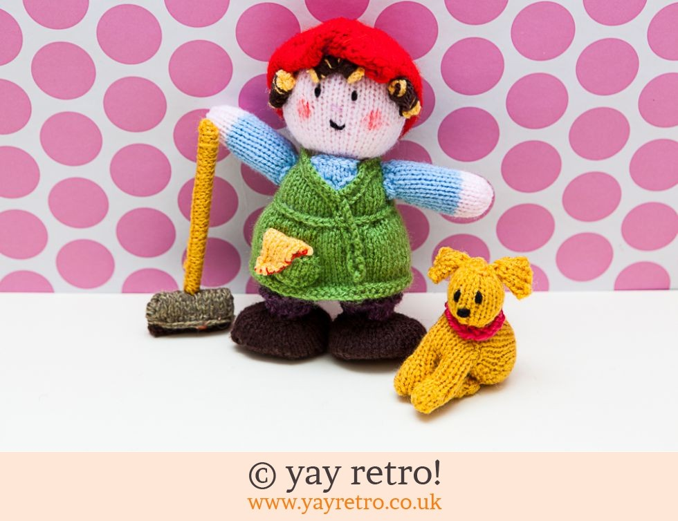 Mrs Overall and Dog Arthur Knitted Dolls (£15.00)
