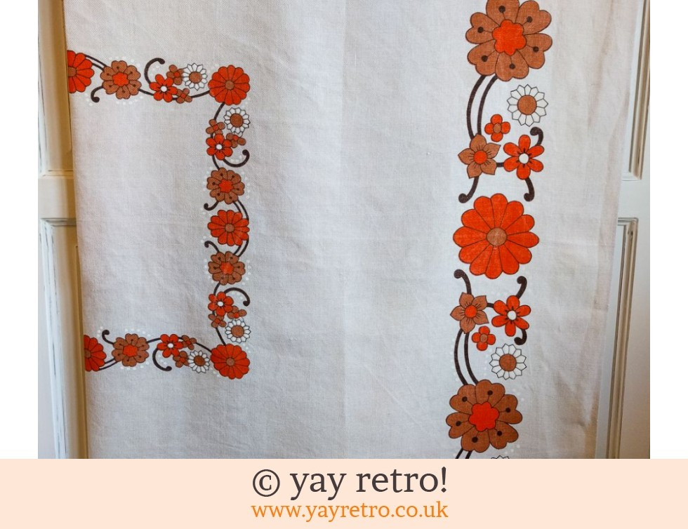 70s Orange Flowery Linen Tablecloth (£12.50)