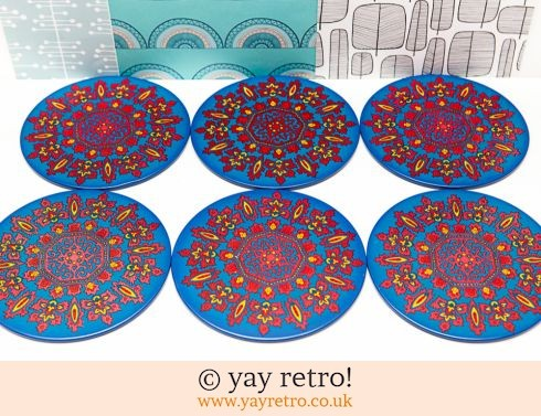 102: Vintage Metal Psychedelic Table Mats  x6 (£20.00)