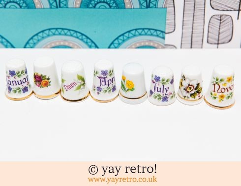 0: 8 Collectable Thimbles - Months & Flowers (£2.95)