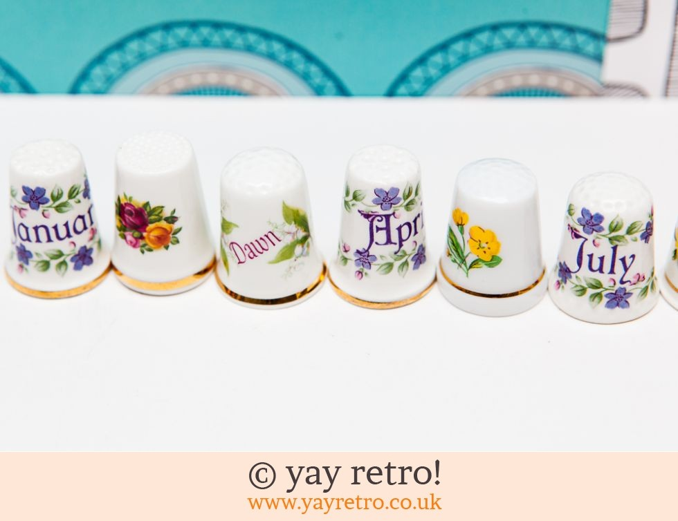 8 Collectable Thimbles - Months & Flowers (£2.95)