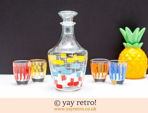 0: 1950s Abstract Decanter + 6 Glasses (£20.00)