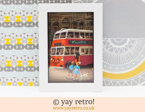 286: Red Double Decker Bus 1956 Framed Picture (£9.75)