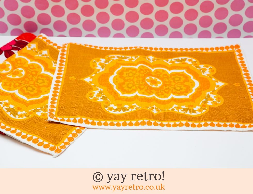 Bright Orange Flower Power Cushion 60s fabric! + 4 Tablemats GAYNOR ONLY (£25.00)