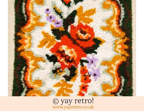 Large Vintage Orange Flower Rug (£42.00)