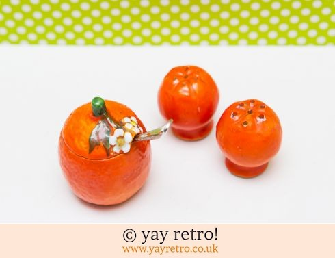 0: Vintage Cruet Set - Oranges! 1940/50s +free spoon (£13.75)
