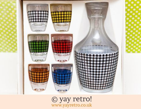 99: Dog Tooth Check Decanter Set 1950/60s (£22.00)