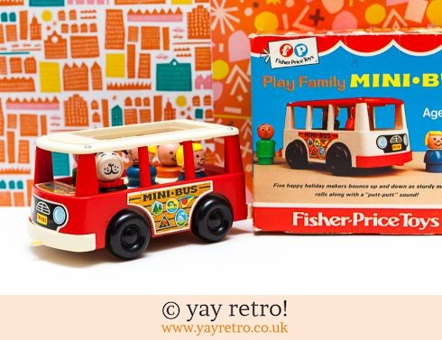 535: 1969 Boxed Fisher Price Minibus & Wooden Mini People - Stunning (£27.50)