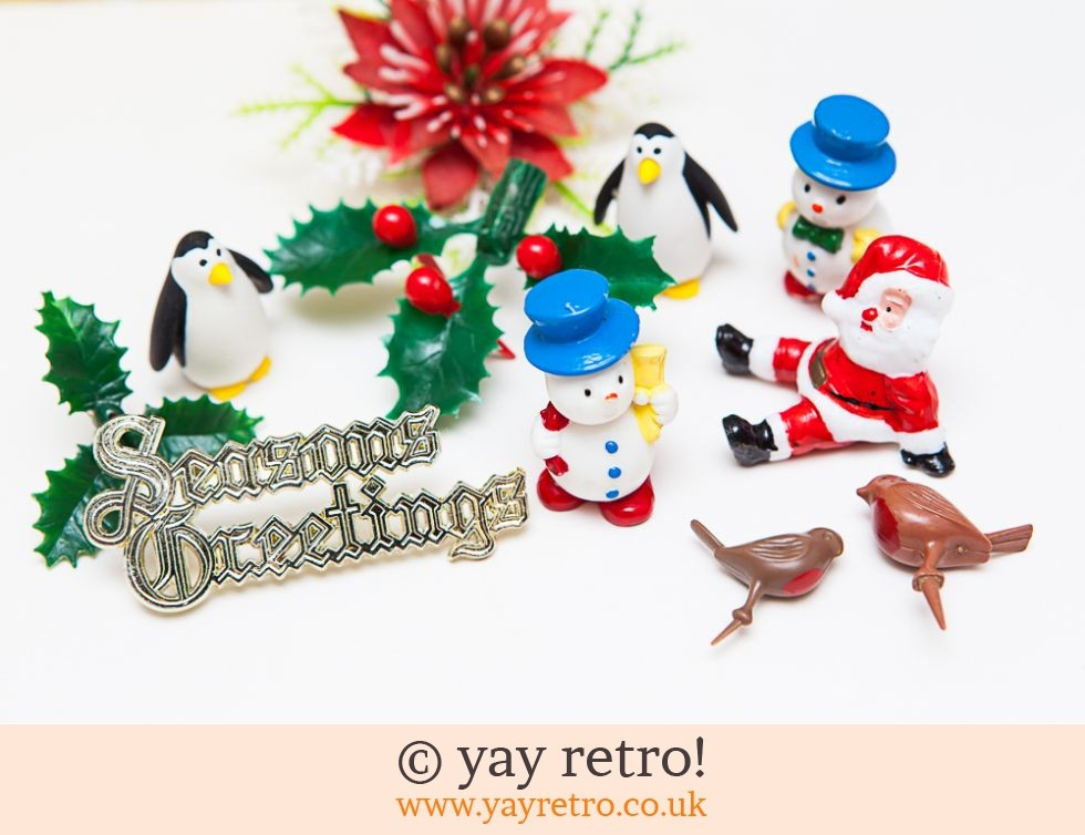 Vintage Kitsch Christmas Cake Decorations x 10 - Buy yay ...