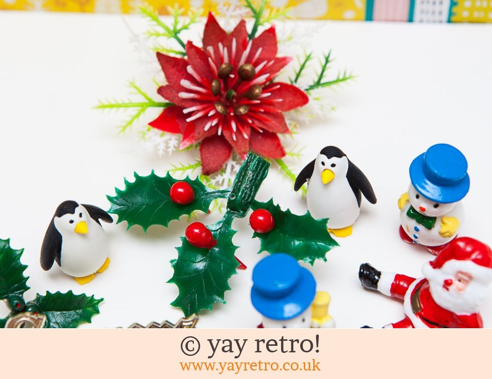 Vintage Kitsch Christmas Cake Decorations x 10 (£7.50)