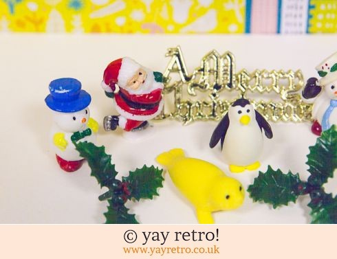 0: Vintage Christmas Cake Decorations x 9 Arctic! (£7.00)