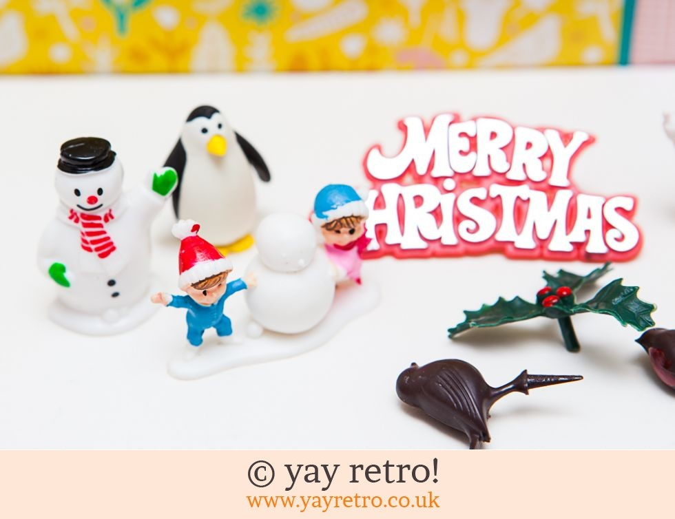 Vintage Kitsch Christmas Cake Decorations x 9 (£7.00)