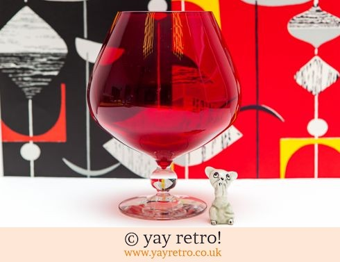 0: Red Vintage Brandy Glass Vase & Mouse (£17.50)
