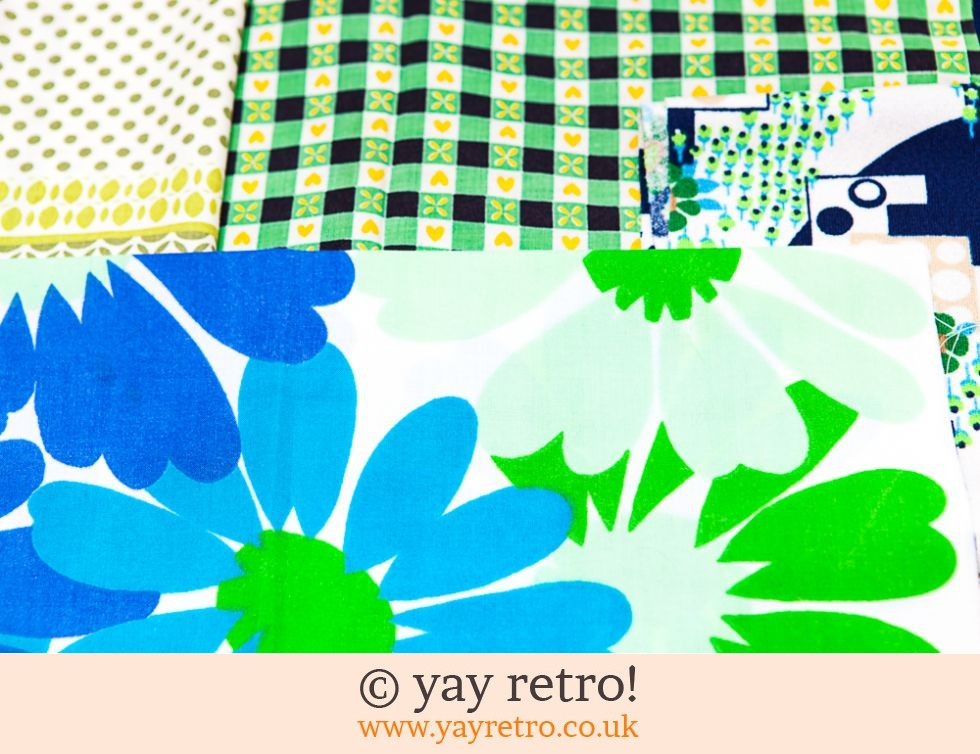 Green & Blue Scrap Pack Fabrics 60/70s (£8.00)