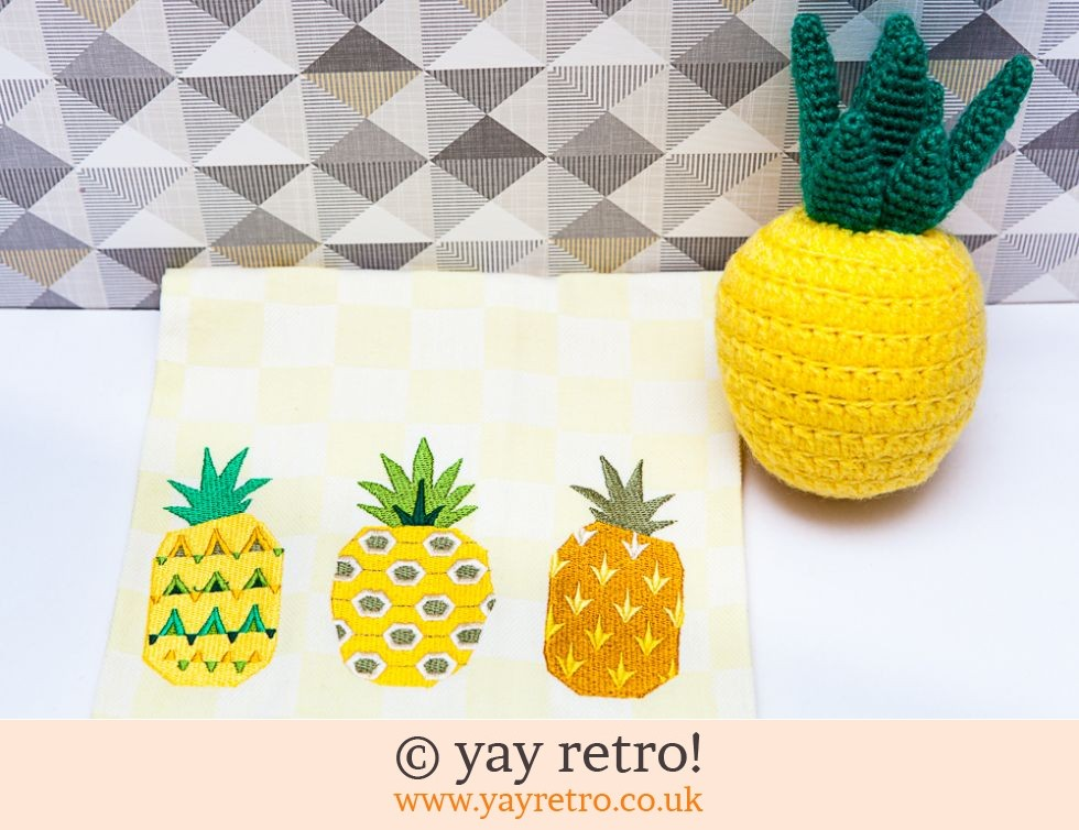 Pineapple Tea Towel Yellow Check (£7.50)