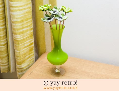 Fabric Flowers & Retro Glass Vase (£22.00)