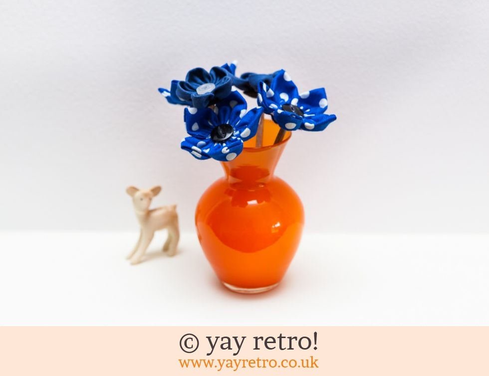 Orange Glass Vase Polka Dot Flowers Vintage Shop Retro China