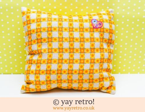 0: Orange Daisy Check Vintage Cushion (£14.50)