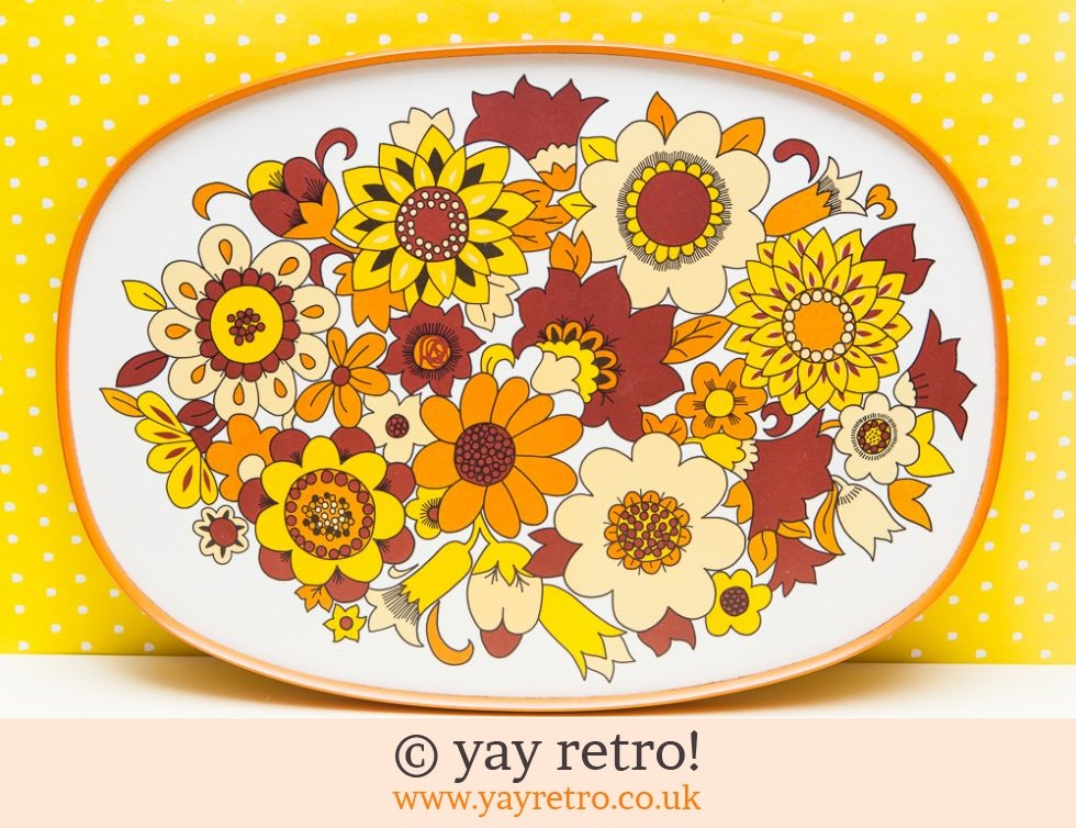 Vintage M Amp S Tray Yellow Flowers Buy Yay Retro Handmade