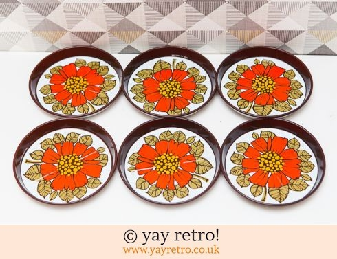 102: Rare Flower Power Worcesterware Coasters (£14.75)