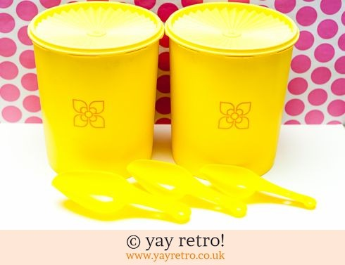 46: Tall Yellow Vintage Tupperware Storage Containers + Free Scoops (£24.00)