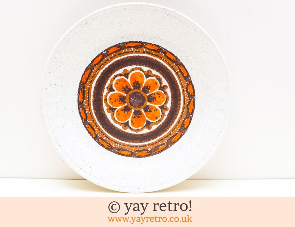 Staffordshire Pottery: Fab Bright Orange Flower 70s Dinner Plates x 4 (£20.00)