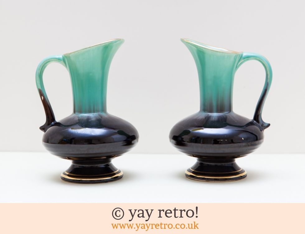 Pair Mid Century Jug Vases Vintage Shop Retro China Glassware