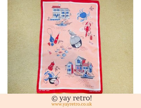 0: Stunning 1950s Pink Seaside Tea Towel (£10.00)