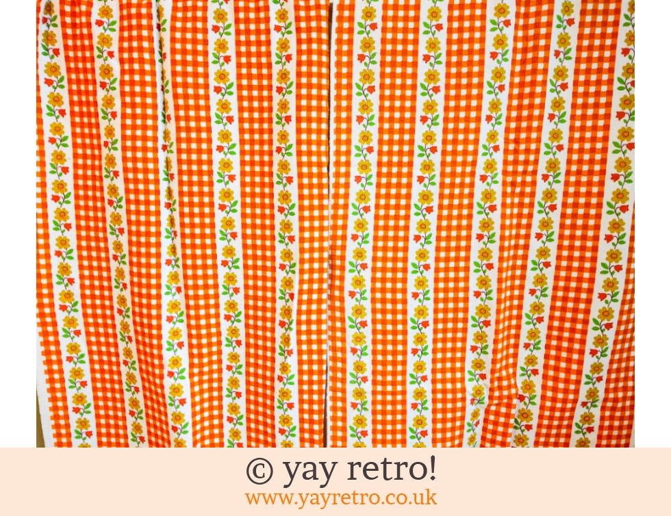 Orange 70s Curtains Material Buy Yay Retro Handmade