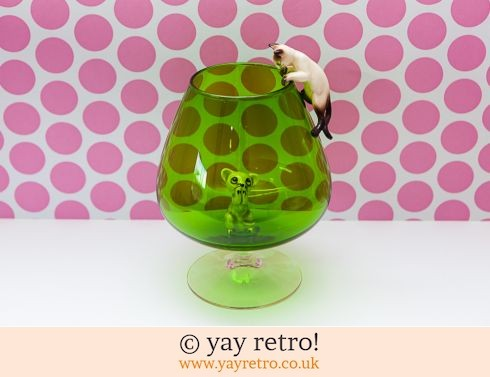 0: Green Vintage Brandy Glass Vase Cat & Mouse (£29.95)