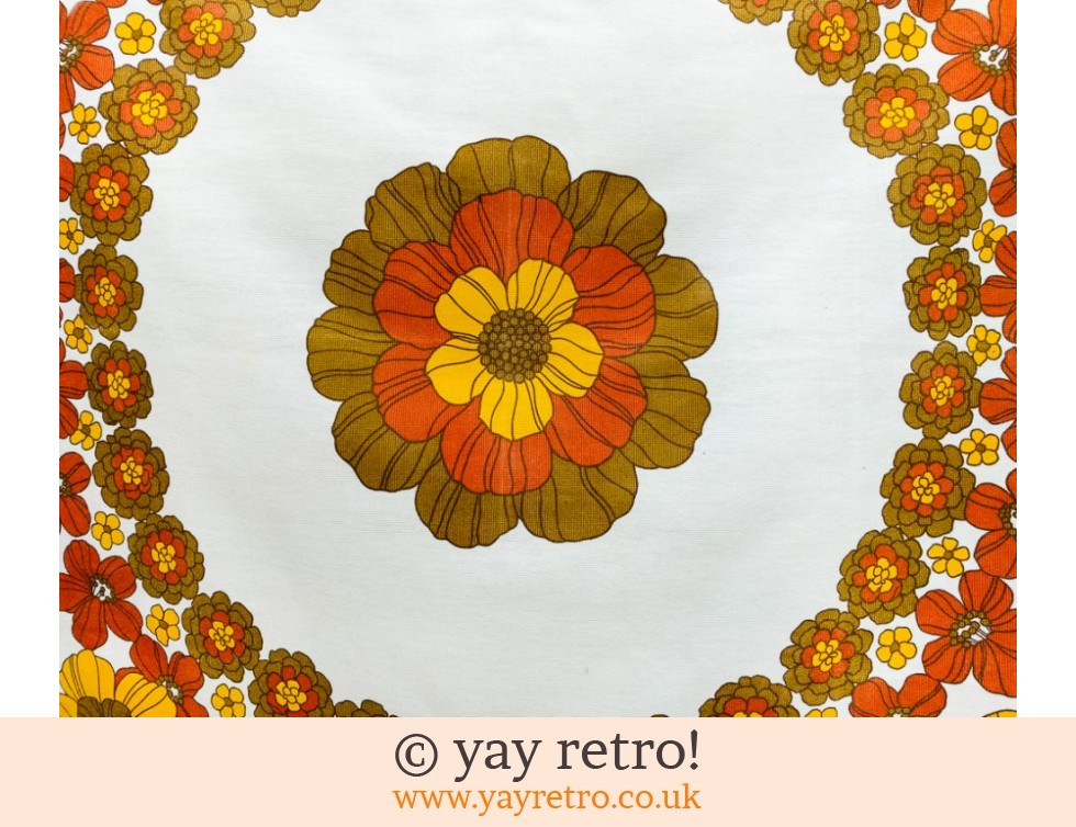 70s Orange Flowery Linen Tablecloth (£12.70)