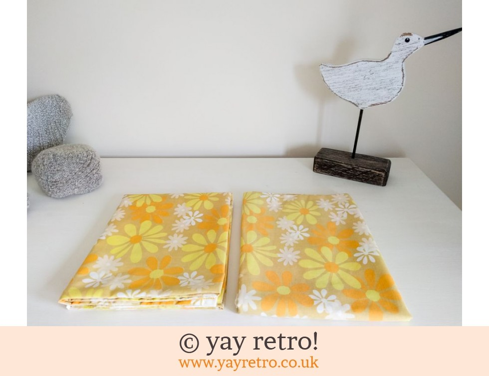 Orange & Yellow Vintage Pillow Cases Daisies! (£14.50)
