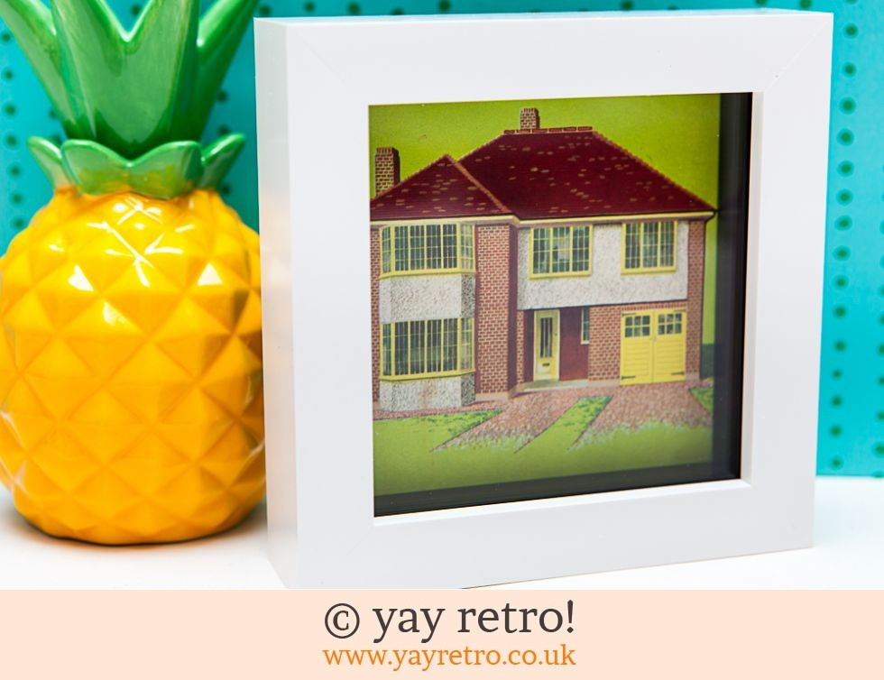 Vintage 1950s House Framed 4 x 4 (£8.50)