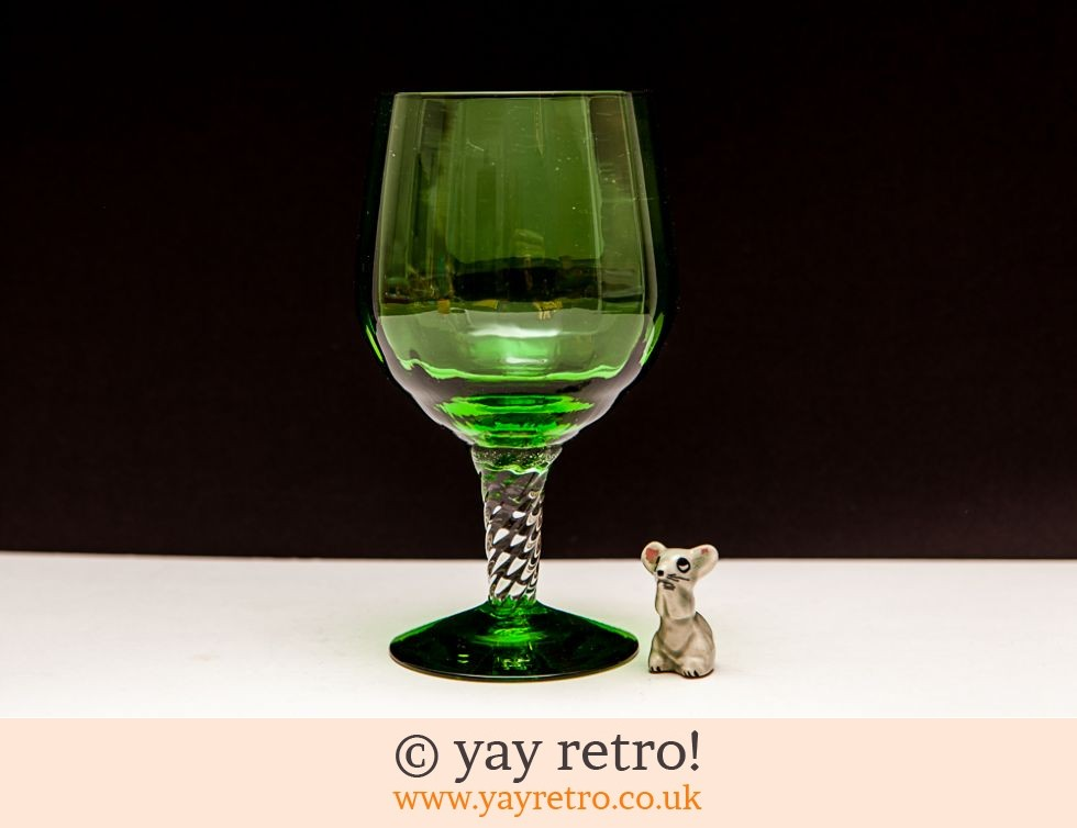 Green Vintage Brandy Glass Vase with Mouse (£14.50)